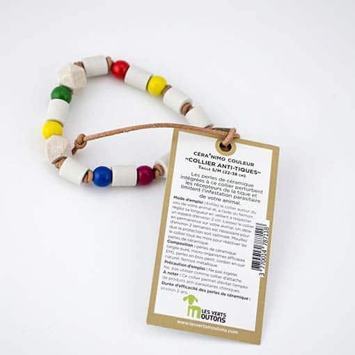 Collier anti parasite avec perles de céramique EM CERA'NIMO