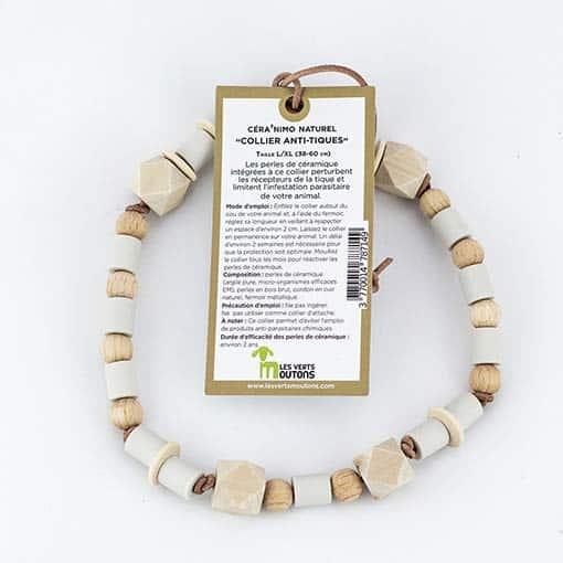 Collier anti parasite pour chien et chat avec perles de céramique EM